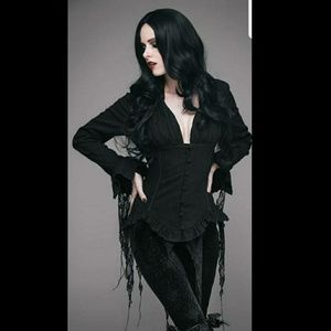 Morticia Tattered Gothic Ghostly Button Up Blouse